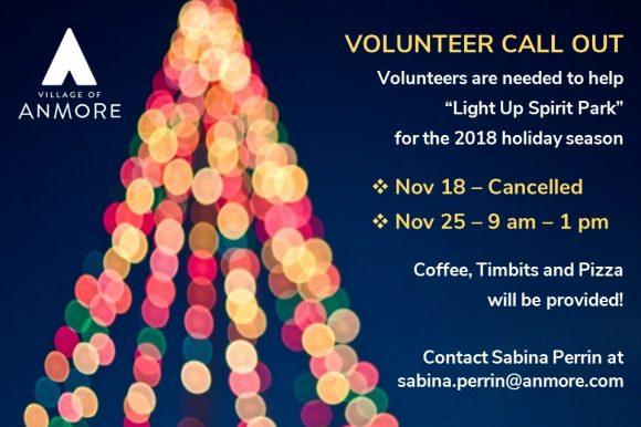 Help to Light up Spirit Park on Sunday November 25