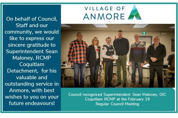 Council recognizes Officer in Charge ~ Superintendent Sean Maloney CQRCMP