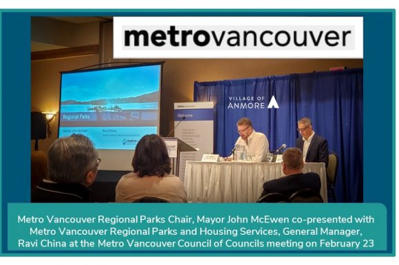 Metro Vancouver Regional Parks Chair, Mayor John McEwen presented at MV Council of Councils