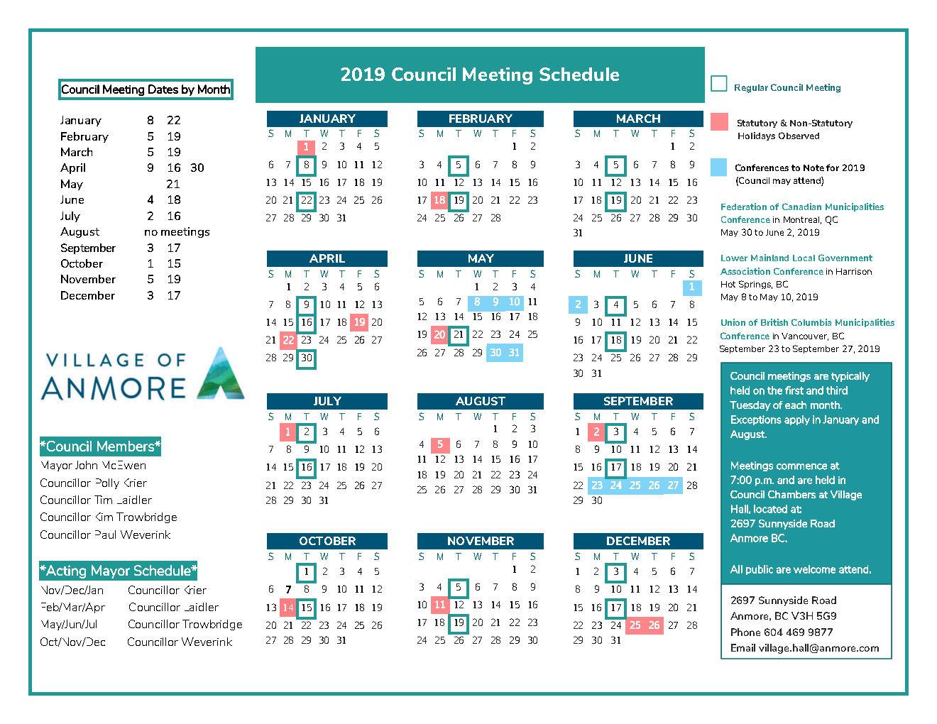 2019 Regular Council Meeting Schedule FINALjpg_Page1