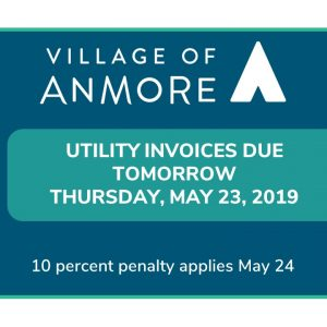 Utility Invoices Due ~ Thursday, May 23