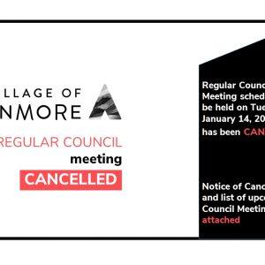 Regular Council Meeting   CANCELLED