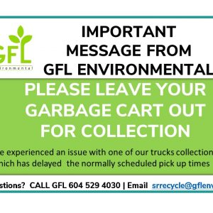 PLEASE LEAVE YOUR GARBAGE CARTS OUT – DELAYED PICK UP
