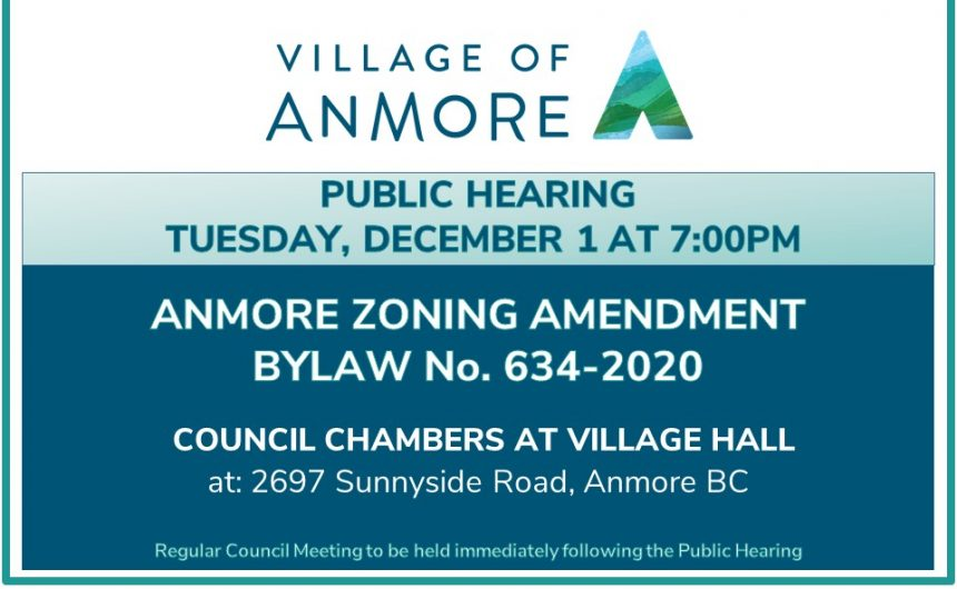 Public Hearing on Anmore Zoning Amendment Bylaw No. 634-2020